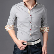 OEM Mens High Fashion Floral Contrast Double Collar Designer Street Casual Shirts