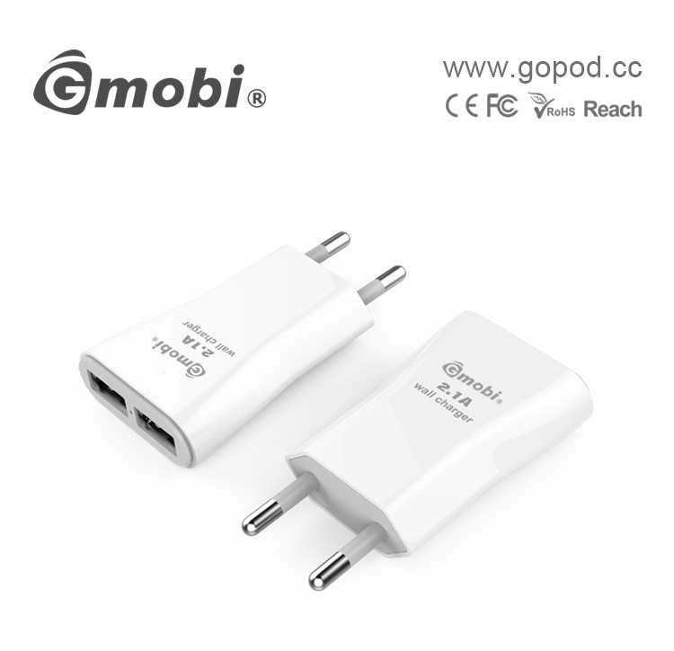 Manufacture C-TICK 2.1A dual usb wall charger with smart sense IC for Samsung/iPhone