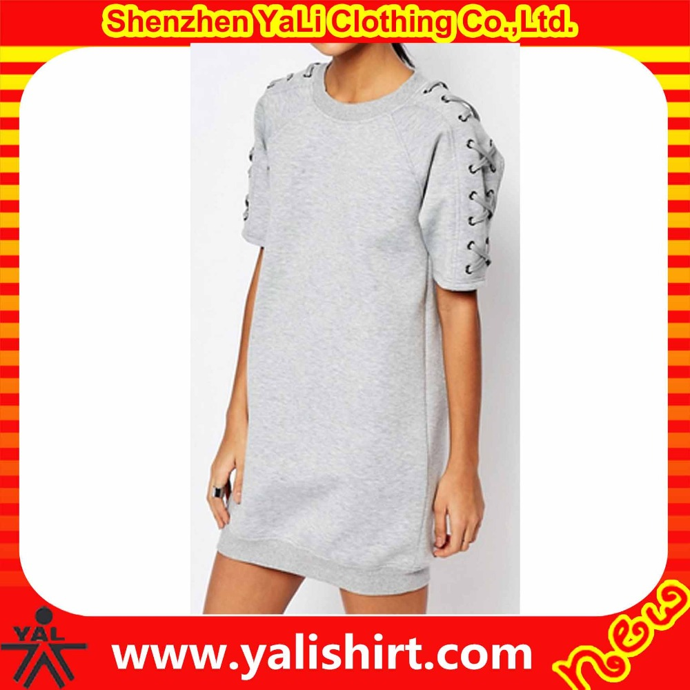 High quality cheap cotton/polyester lace-up short sleeve oversized ladies casual dresses pictures