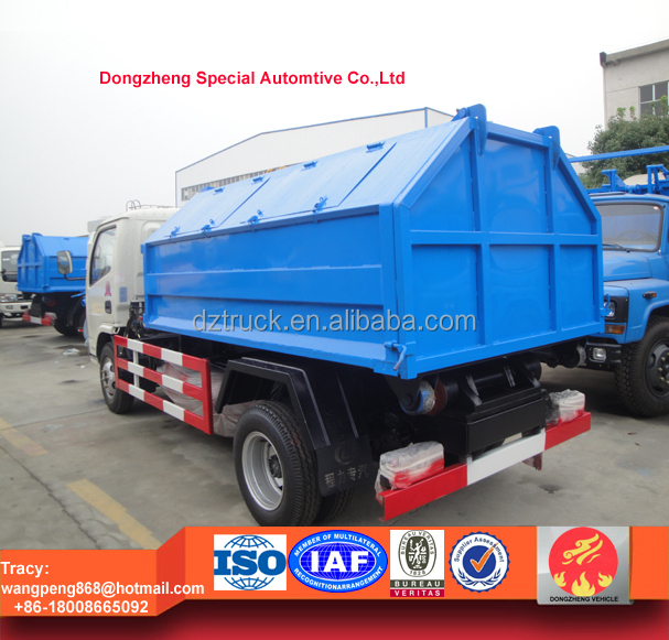 Top designed dongfeng hook lift refuse collection truck, 4ton hook lift bin lorry for sale