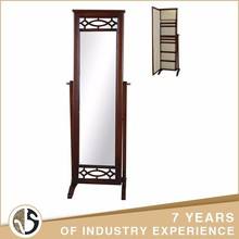 Wood Cheval Floor Stand Jewelry Armoire With Mirror