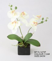 cheap wholesale realistic mini artificial orchid flower with ceramic pot for wedding decoration