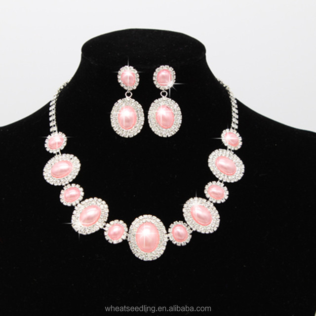 Korean Cheap Bridal engagement Jewelry crystal pearl necklace Earrings set fashion necklace and earrings set