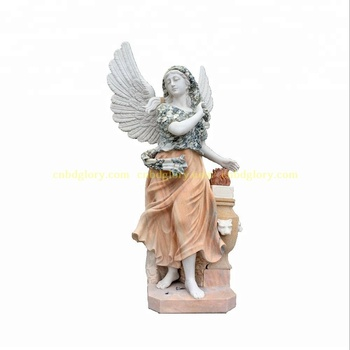 Garden Home Decor Marble Woman Figure Statue With Wings