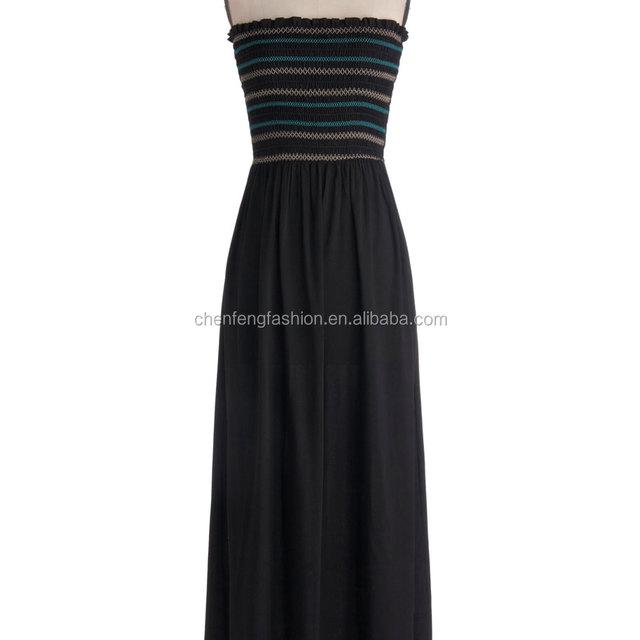 Wandering around town shirred bodice and long gauzy skirt black strapless maxi dress