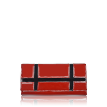 Red color snap closure women's purse clutch wallet