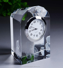 Customer LOGO 3 D Laser Engraving 80mm height table glass dome clock