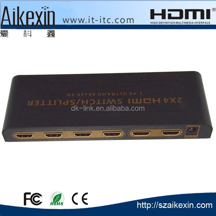 2x4 HDMI Switch Splitter 4K 2 in 4 out HDMI Switch support Full HD 1080P 3D Audio out with IR Remote Power Adapter