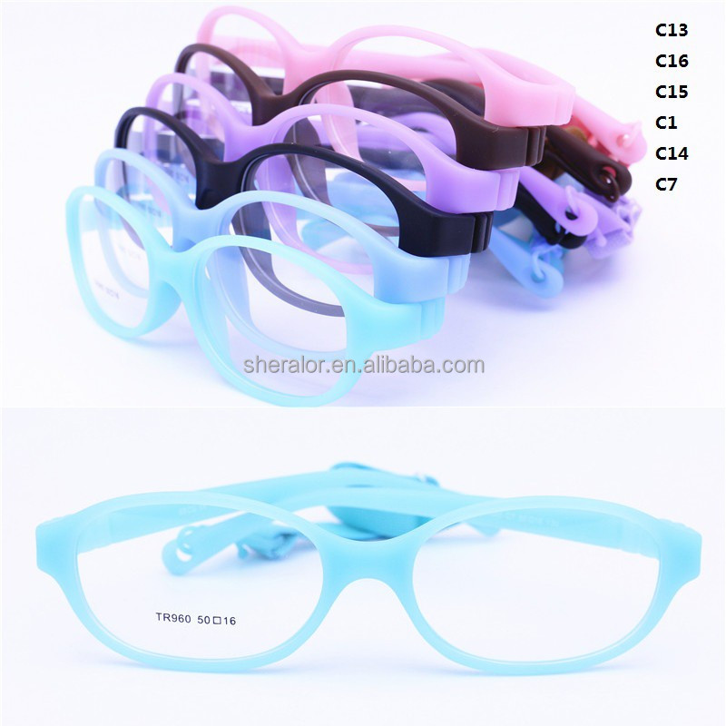 wholesales high end classic children TR90 prescription glasses oval frame flexible hingeless with adjustable strip