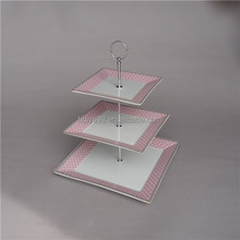 Ceramic square wedding serving cake plate stand