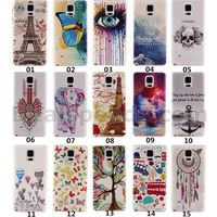0.6mm TPU Soft Case UV Printing Made Eiffel Tower/Butterfly/Anchor/Dream Catcher Back Ultrathin Case for Galaxy Note 4 Samsung