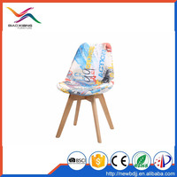Wholesaler supply cheap price beech wood legs Plastic back and PU seat fabric covered PP chair