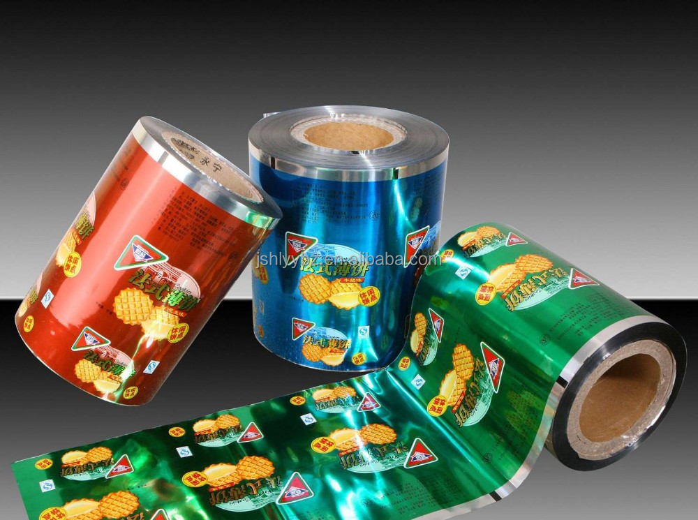 Printed plastic packaging film roll for VFFS machine