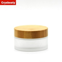 Hot sale 30ml 50ml 60ml glass cosmetic jar with bamboo lid