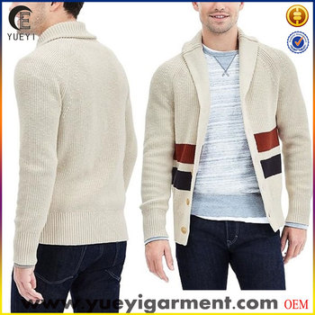 men stripe shawl neck knitted cotton cardigan