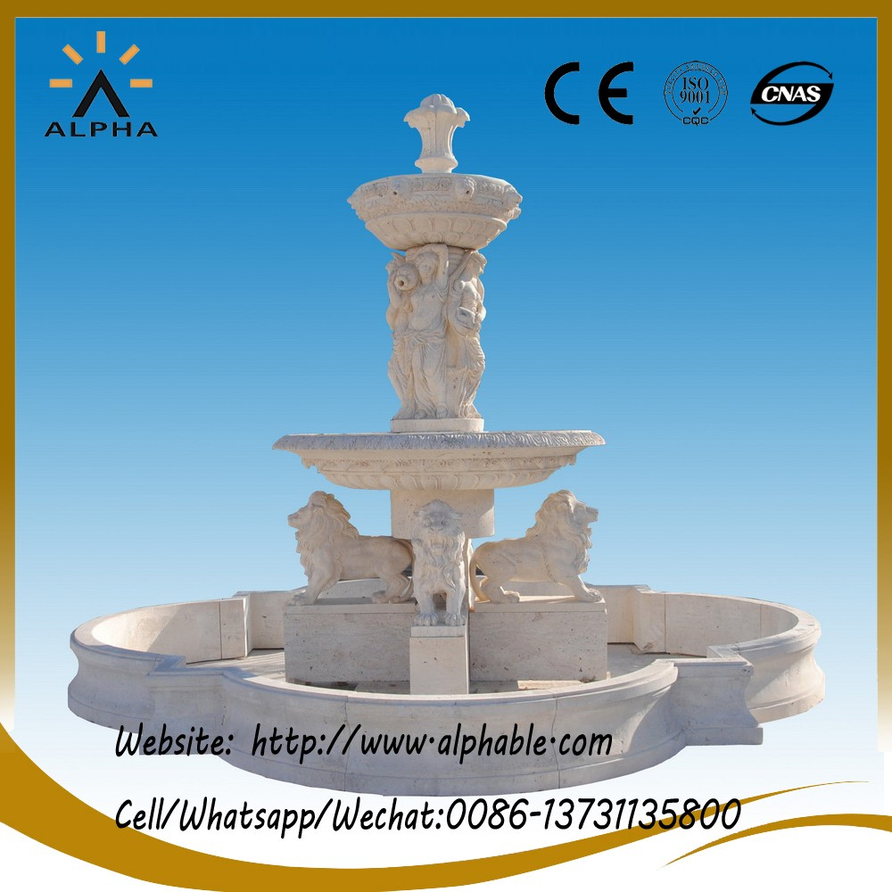 Outdoor Lady Statues Stone Fountain With Lions