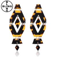 >>>Fashion tiger stripes shell Resin Gem Geometry Dangle Earrings Ear Stud Jewelry.