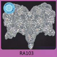 Beautiful custom sash design embroidered rhinestone applique patches