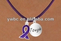 purple cancer awarenes ribbon and tough letters silver plated round tag pendant necklace (A107270)