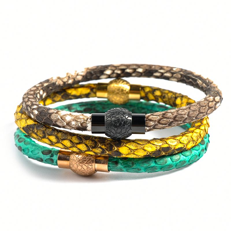 Expensive Brands Small Thin Real Python Snake Leather Bracelet For Men Sale