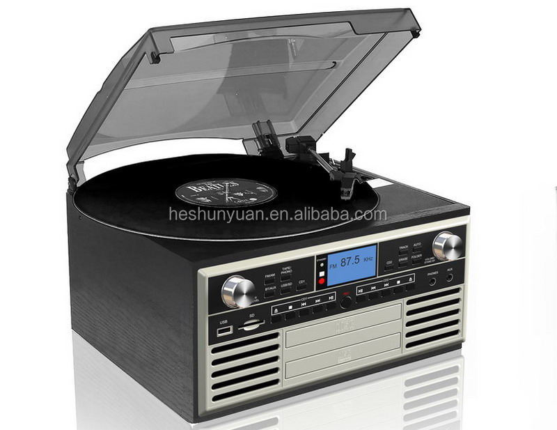 Multi Function Retro Nostalgic Turntable Player with Cassette CD Player