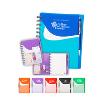 Promotional Notebook With Company Logo Printing , Multicolor Pp Sprial Notebook With Pocket And Pen