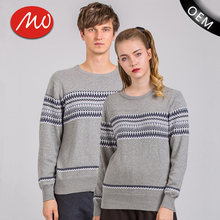 customs wholesale unisex fashion knitted jacquard couple pullover sweater with high quality