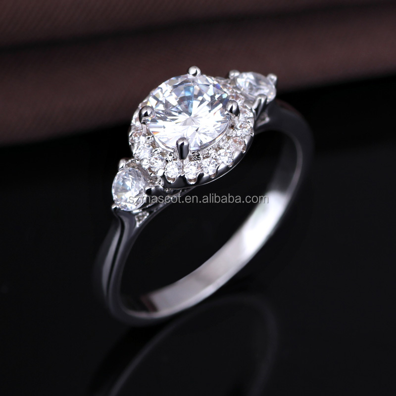 925 silver crystal glass latest wedding designs zircon diamond engagement ring