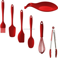 Red Silicone Heat Resistant Cooking Kitchen Utensils Gadget Tool Accessories Set