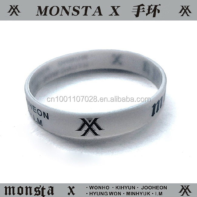 Monsta X Kpop entertaiment show relative custom silicone wristband Fashion rubber bracelet for shows