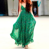 Summer Beach A Line Spaghetti Straps Green Color Floral Print Long Pakistani Chiffon Maxi Dress