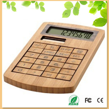 wholesale business promotional gift solar powered 8 digits bamboo wood calculator