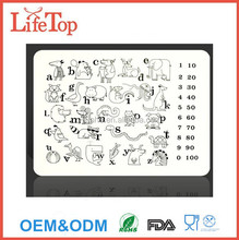 Kids Mark-Mat Silicone Coloring Placemat with Dry-Erase Markers, Alphabet Animals