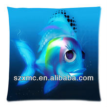 Cartoon bedroom animal fish blue digital printed throw pollow case fancy turkish cushion covers