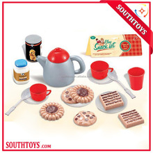 promotional kids tea time pretend play plastic tea and snack set game toy