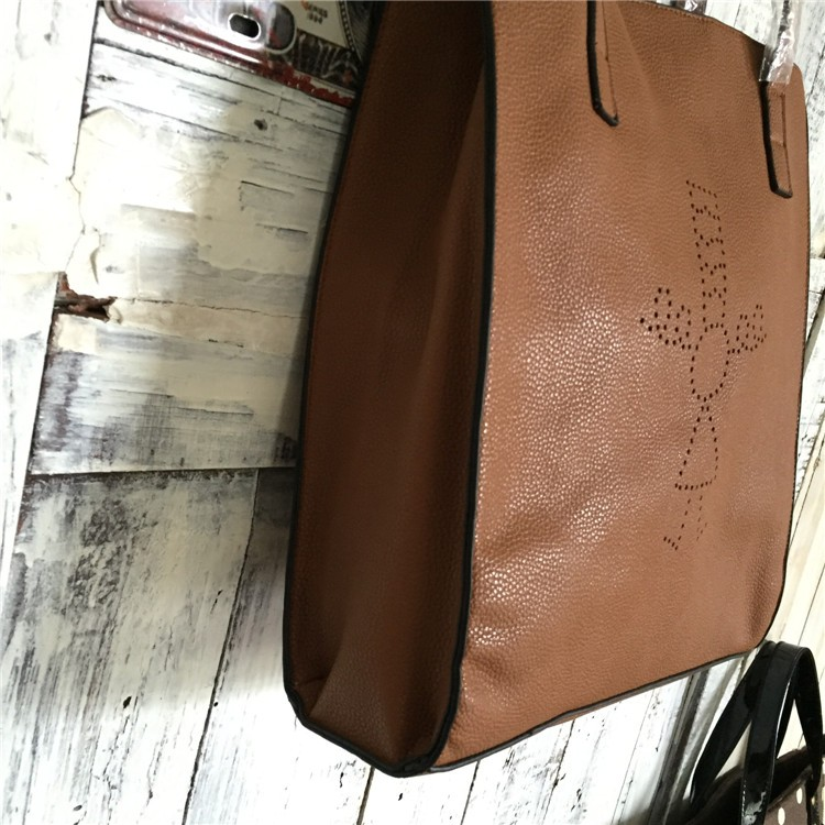 Wholesale cute girl foldable laser light pu leather shoulder tote bag with snap closure