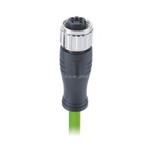 ProfiNet Cable M12 Plug Connector D-Coding Female 4Pin Female EMC Shielded Connector Molded with 2 Pairs EtherNet Green Cable