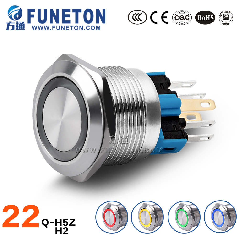 Ring Light OFF-ON Push Button, 22mm Metal Push Button Switch, 5A LED Pushbutton Switch