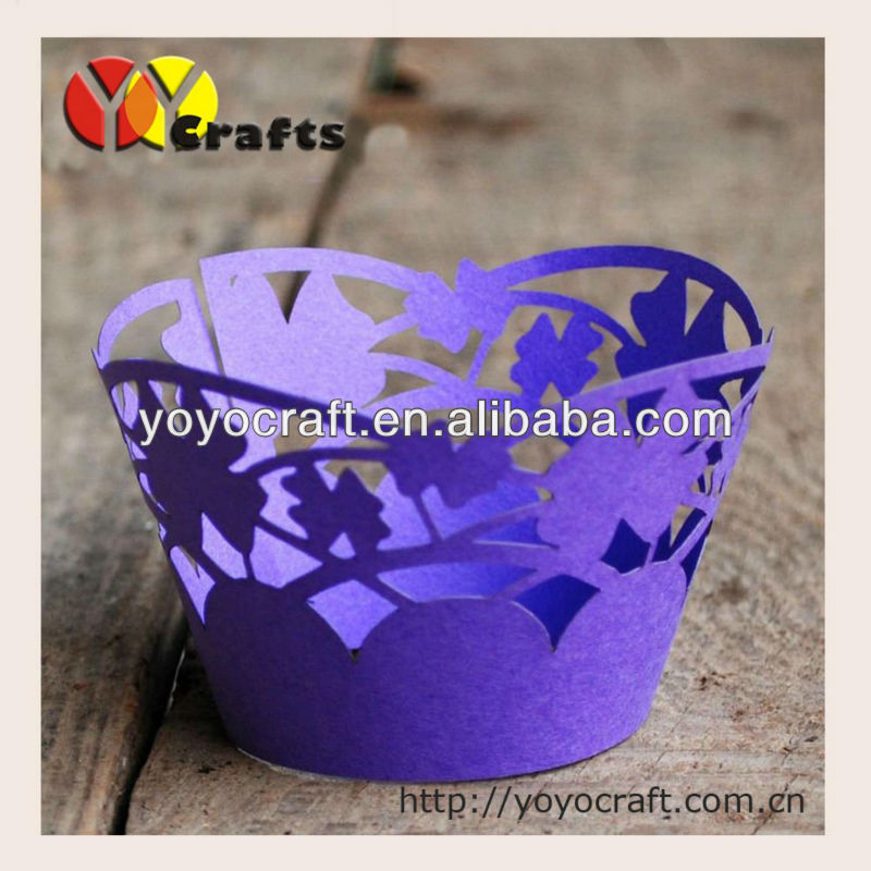 Party decoration dressing our laser cut cupcake wrappers from YOYO crafts fast shipment MOQ300pieces