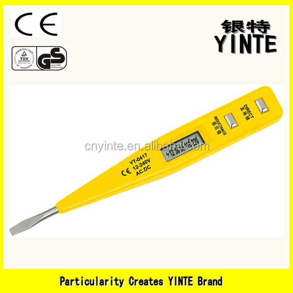 China factory Digital display voltage tester pen screwdriver typre tester with gold PCB and 45#carbon steel feeler CE cert