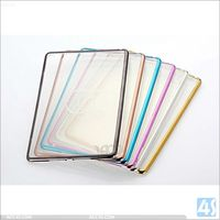 for ipad mini 4 cover, clear soft tpu back cover + plating hard pc bumper tablet case cover for apple ipad mini 4