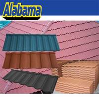 Good fire resistance thermal insulation stone coated steel roof tile, free samples sun stone coated metal roof tile