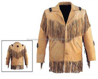 Leather western princes jacket Made of premier leather. Bones/rivets on front & back Layered fringes on front & back Avail