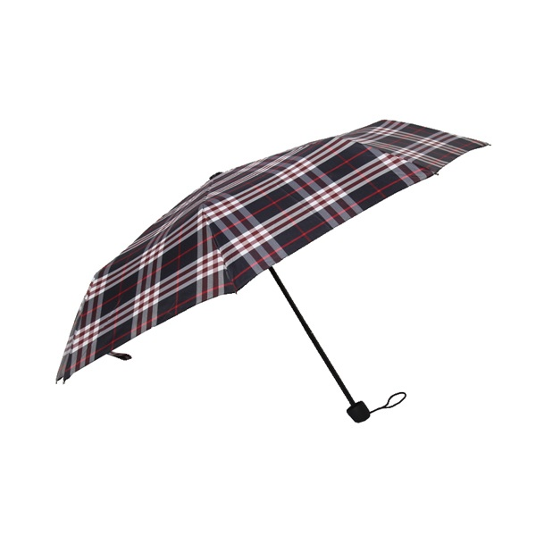 Saiveina Brand Unisex Red/Black Plaid Parasol with Plastic Handle Push Button Umbrella