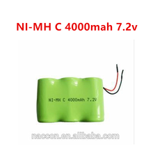 ni-mh rechargeable battery pack c size 4000mah 7.2V batteries