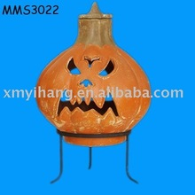 terracotta pumpkin angry face chimenea