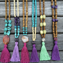 chunky wholesale new design stone pendent wooden beads necklace for women