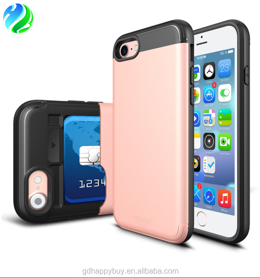Hot selling wholesales price sliding card slot TPU+PC cell phone back case cover for iphone 7 for iphone 6