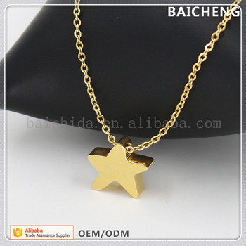 Yellow gold stainless steel jewelry Star pendant Bling Bling pendant