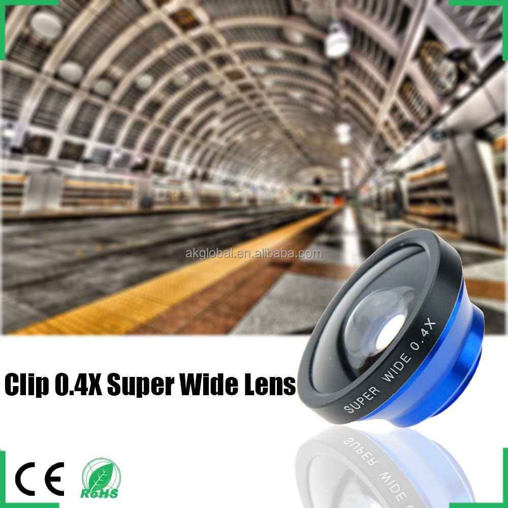 0.4X super wide angle lens without vignetting Universal clip suitable for all cell phone camera
